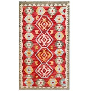 Herat Oriental Afghan Hand-woven Tribal Kilim Red/ Gray Wool Rug (2'10 x 5')