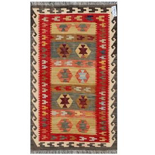 Herat Oriental Afghan Hand-woven Tribal Kilim Gold/ Red Wool Rug (3' x 5')