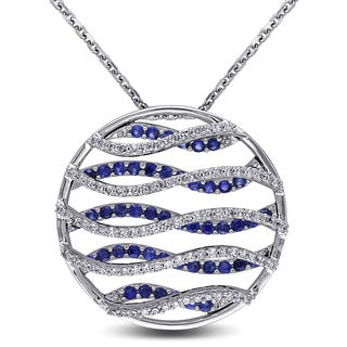 Miadora 14k White Gold Sapphire and 1/2ct TDW Diamond Circle Necklace (G-H, SI1-SI2)