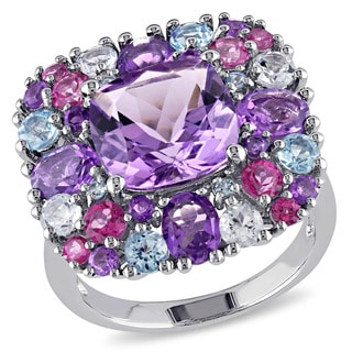 Miadora Sterling Silver Amethyst Topaz Diamond Accent Cocktail Ring