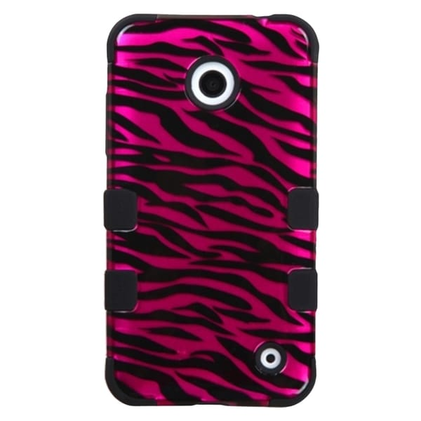 Insten Black Zebra Tuff Hard PC/ Silicone Dual Layer Hybrid Rubberized Matte Phone Case Cover For Nokia Lumia 630/ 635
