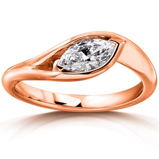 Annello 10k Rose Gold 1/2ct TDW Certified Marquise-cut Diamond Ring (F-G, VS1-VS2)