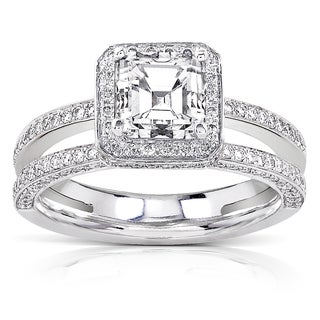 Annello 18k Gold 1 1/2ct TDW Certified Asscher Diamond Engagement Ring (F-G, VS1-VS2)