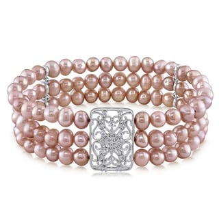 Miadora Sterling Silver Freshwater Pink Pearl Cubic Zirconia 3-strand Stretch Bracelet (5-6 mm)