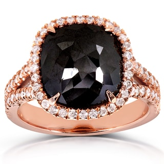 Annello 14k Rose Gold 5 1/4ct TDW Cushion-cut Black Diamond Halo Ring (G-H, I1-I2)