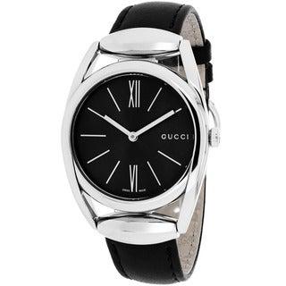 Gucci Women's YA139401 Horsebit Round Black Leather Strap Watch