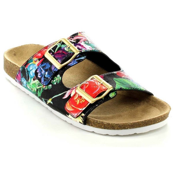 Soda Women's Buckle Straps Open-toe Slip-On Sandals