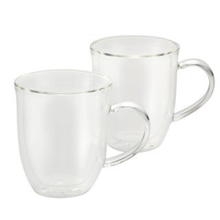BonJour Coffee 2-Piece Insulated Glass Latte Cup Set