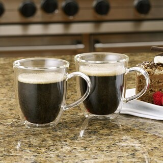 BonJour Coffee 2-Piece Insulated Glass Espresso Cup Set