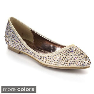 Kiss & Tell Women's Zonia-08 Glitter Slip On Ballet Flats