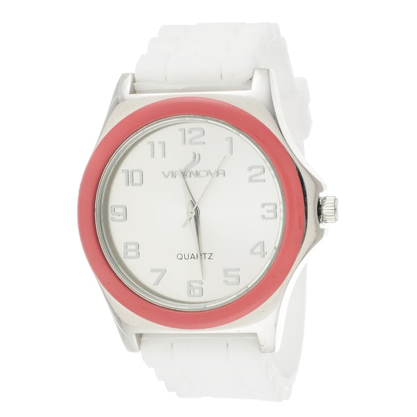 Via Nova Women's Silver Case Pink Ring White Rubber Strap Watch