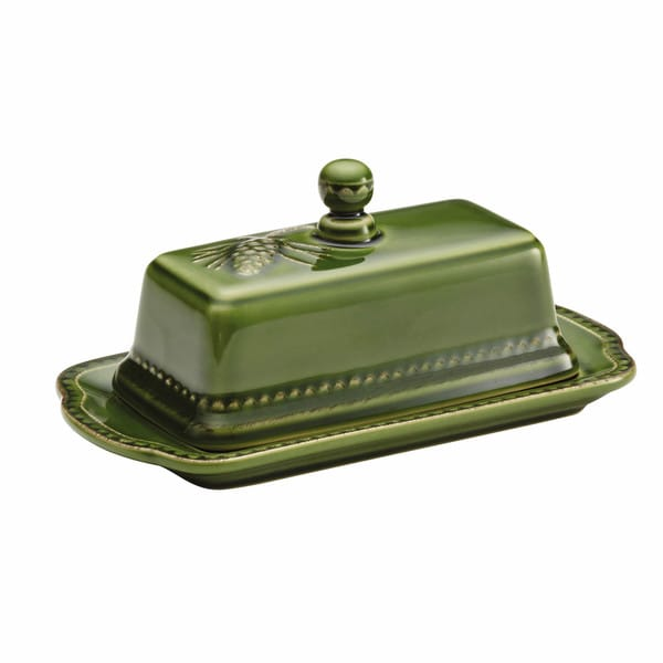 BonJour Dinnerware Sierra Pine Stoneware Covered Butter Dish, Forest