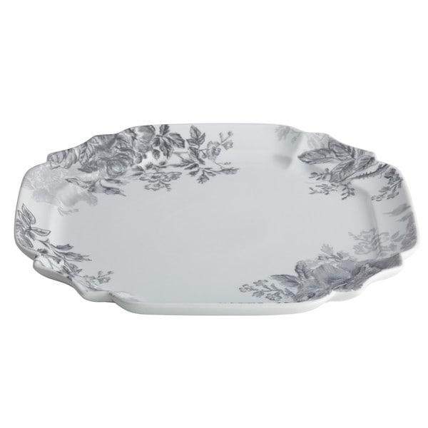 BonJour Dinnerware Shaded Garden 13.25-Inch Porcelain Square Platter, Slate