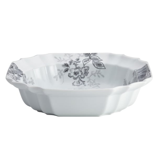 BonJour Dinnerware Shaded Garden 10.5-Inch Porcelain Serving Bowl, Slate