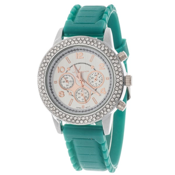 Via Nova Women's Silver Case Cubic Zirconia Watch