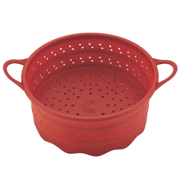 Circulon Tools 6-Quart Collapsible Silicone Steamer Insert, Red