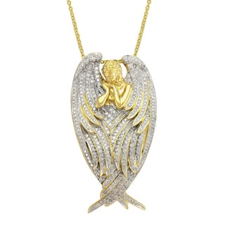 Beverly Hills Charm 14k Yellow Gold 1ct TDW Diamond Angel Necklace (H-I, I2-I3)