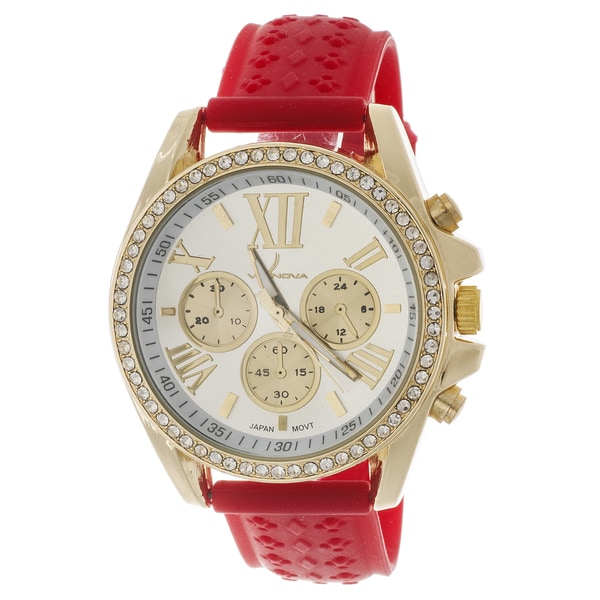 Via Nova Women's Goldtone Cubic Zirconia Watch