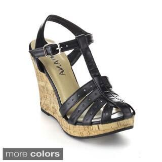 Diviana Women's Carina-68 Cage Ankle Strap Platform Wedges