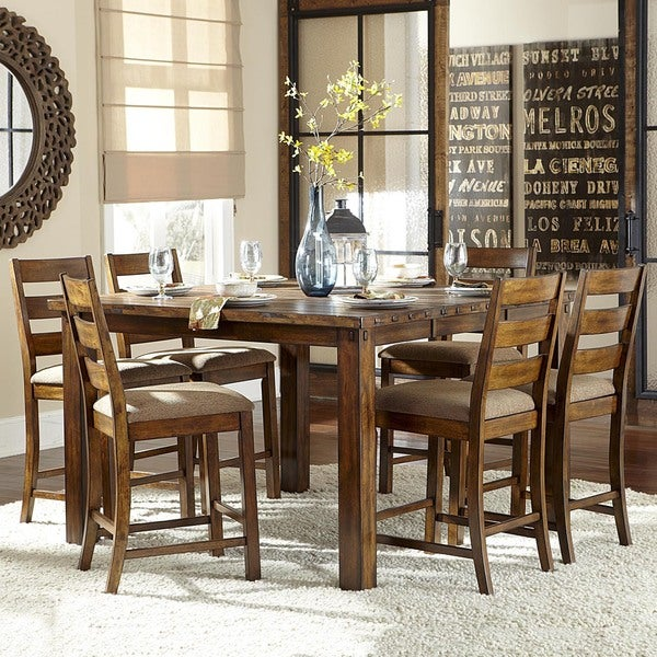 Counter Height Rustic Dining Sets : Maddox Rustic Counter Height Burnished 7 Piece Extending Dining Set ...