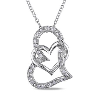 Miadora Sterling Silver 1/4ct TDW Diamond Double Heart Necklace (H-I, I2-I3)