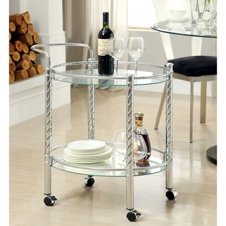 Furniture of America Clarie Contemporary Chrome 2-Shelf Serving Cart