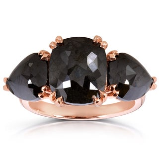 Annello 14k Rose Gold 7 7/8ct TDW Cushion and Pear-cut Black Diamond 3-stone Ring