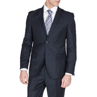Men's Slim Fit Navy Pinstriped Wool and Silk Blend Suit