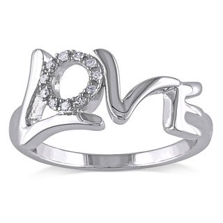 Haylee Jewels Sterling Silver Diamond Accent 'Love' Ring