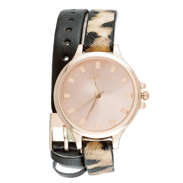 Via Nova Women's Rose Gold Case Leopard Wrap/ Black Leather Strap Watch