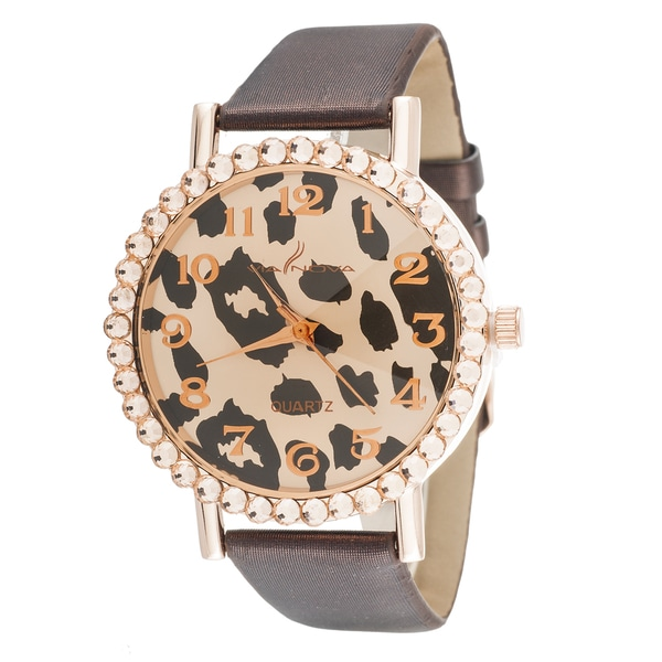 Fortune NYC Women's Leopard Dial Rose Gold Brown Leather Strap Watch