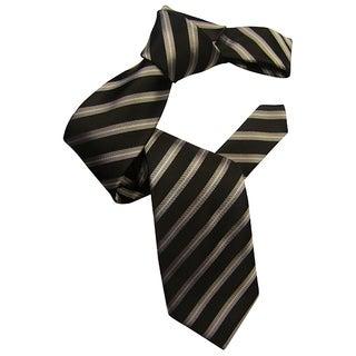 Dmitry Men's Black Striped Italian Silk Tie