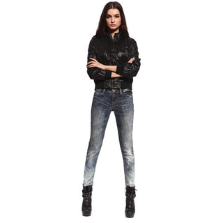 Anladia Women's Gradient Denim Distressed Skinny Jeans