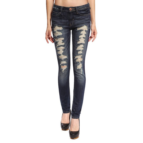 Anladia Women's Dark Blue Ripped and Distressed Skinny Jeans