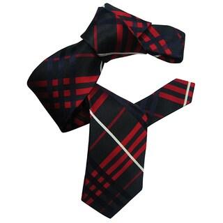 Dmitry Men's Black Patterned Italian Silk Tie