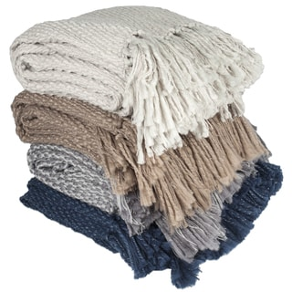 Elegant Hand Knit Style Throw Blanket with Fringe