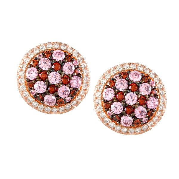La Preciosa Sterling Silver Rose Gold-plated Micropave CZ Circle Stud Earrings