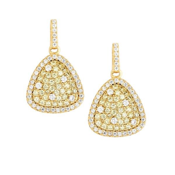 La Preciosa Sterling Silver Gold-plated Micropave CZ Triangle Earrings