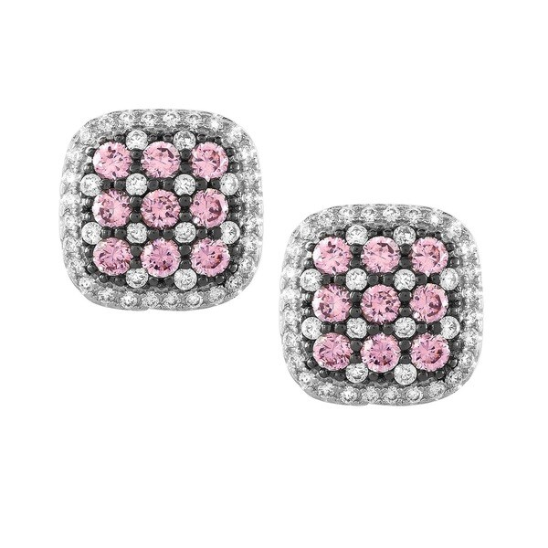 La Preciosa Sterling Silver Micro Pave CZ Square Stud Earrings
