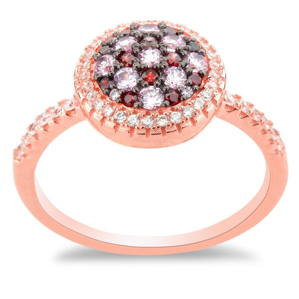 La Preciosa Gold Rose-plated Sterling Silver Micropave CZ Multi-colored Circle Ring