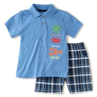 KHQ Toddler Boys Light Blue and Plaid Polo and Short Set