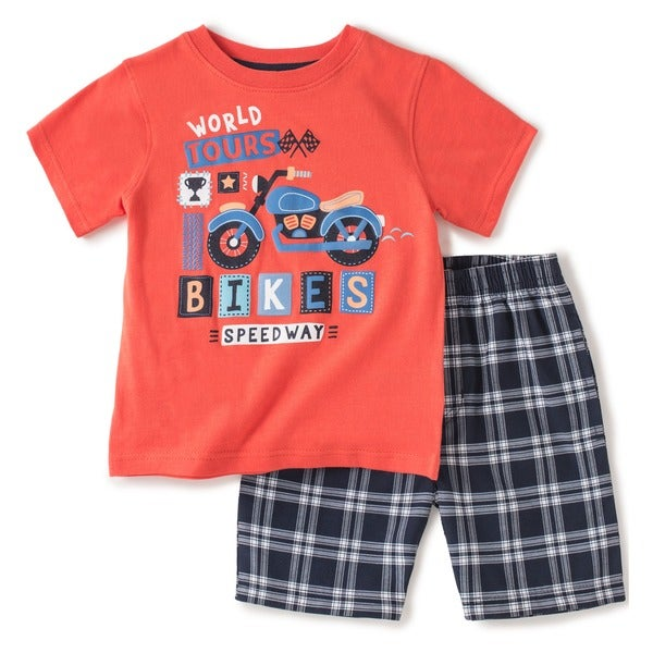 KHQ Toddler Boys Orange and Plaid T-shirt and Short Set