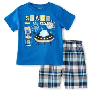KHQ Toddler Boys Blue and Plaid Space Graphic 2-piece Outfit