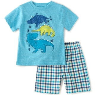 KHQ Toddler Boys Blue Dino Graphic Two-piece Short and Tee Outfit