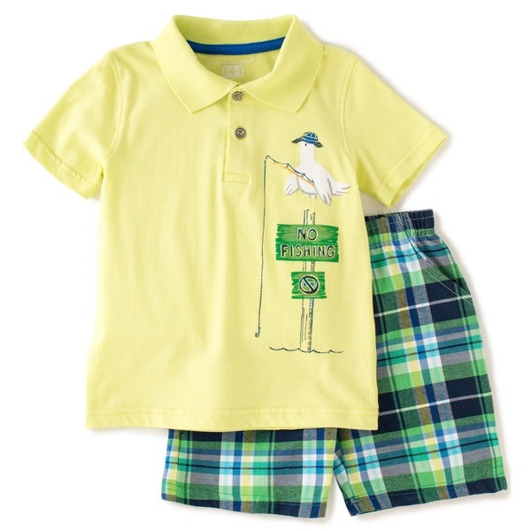 KHQ Boys 4-7X Size Yellow/ Green Plaid Polo and Shorts Set