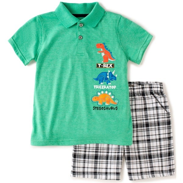 KHQ Boys 4-7X Size Green Plaid Polo and Shorts Set