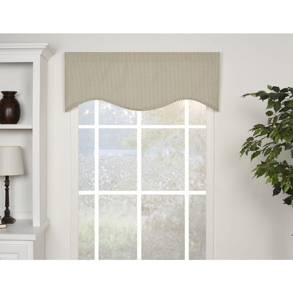 Ticking Stripe Black Shaped Valance