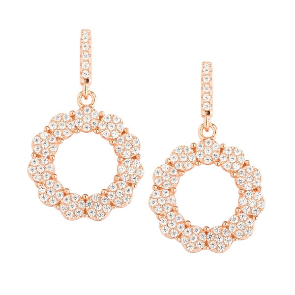 La Preciosa Rose Gold-plated Sterling Silver Micropave CZ Open Circle Earrings
