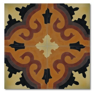 Pack of 12 Handmade Argana Sun Cement and Granite 8-inch Floor or Wall Tile (Morocco)