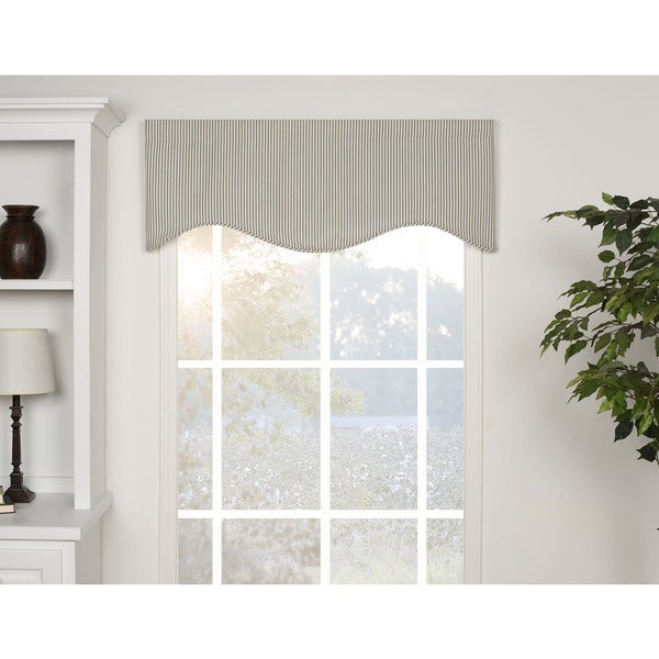 Ticking Stripe Blue Shaped Valance
